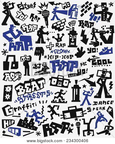 Rap Music Vector Icons, Hip Hop Symbols , Design Elements