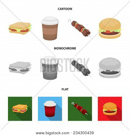 Sandwich, Coffee, Shish Kebab, Burger.fast Food Set Collection Icons In Cartoon, Flat, Monochrome St