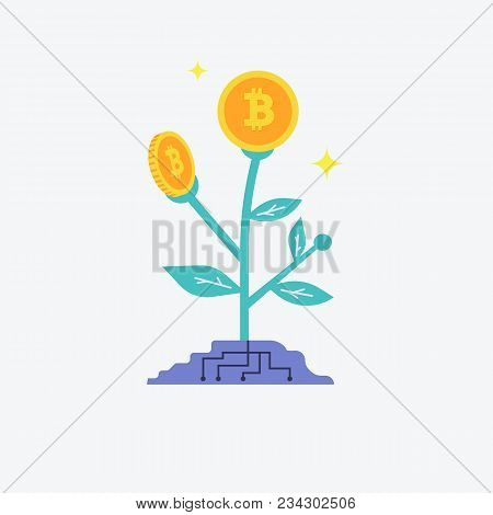 Bitcoins Flower Plant Concept Of Virtual Money For Bitcoin And Blockchain. Vector Illustration Bitco