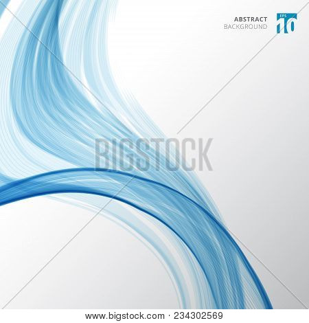 Abstract Blue Fiber Pattern Lines Wave And Curved Texture On White Color Background. Vector Illustra
