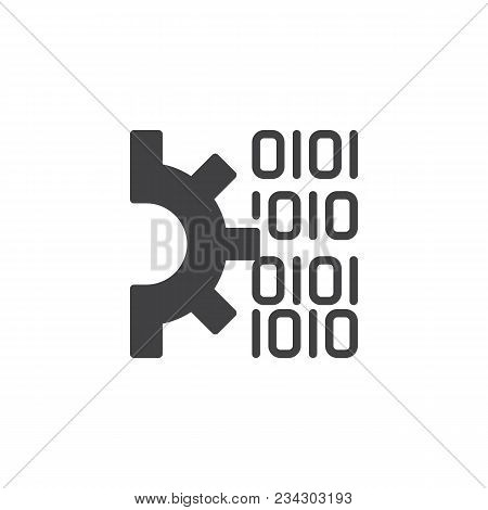 Gear And Binary Code Vector Icon. Filled Flat Sign For Mobile Concept And Web Design. Code Settings
