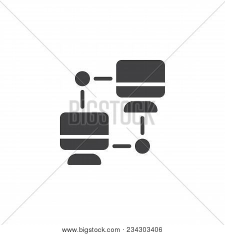 Networking  Pc Vector Icon. Filled Flat Sign For Mobile Concept And Web Design. Computer Sync Simple