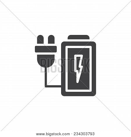 Charging Battery Vector Icon. Filled Flat Sign For Mobile Concept And Web Design. Battery With Elect