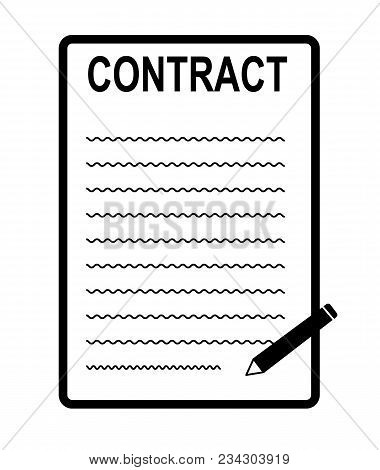 Contract Icon On White Background. Contract Sign. Signing Contract Symbol. Flat Style.
