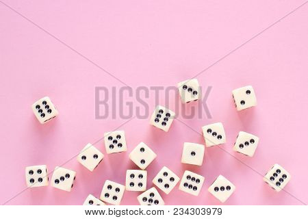 Gaming Dice With Copy Space On Pink Background. Concept For Games, Game Board, Presentation, Banners