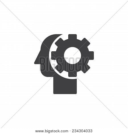 Gear In Head Vector Icon. Filled Flat Sign For Mobile Concept And Web Design. Thinking Process, Idea