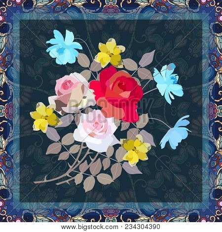 Greeting Card, Napkin Or Cute Pillowcase With Bouquet Of Gardening Flowers - Roses, Daffodils And Co