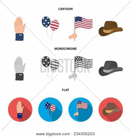 Balloons, National Flag, Cowboy Hat, Palm Hand.patriot Day Set Collection Icons In Cartoon, Flat, Mo