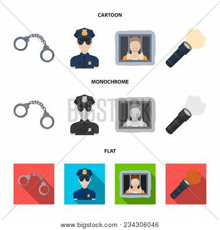 Handcuffs, Policeman, Prisoner, Flashlight.police Set Collection Icons In Cartoon, Flat, Monochrome