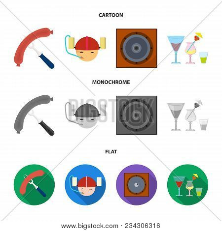 Fried Sausage, Beer Helmet, Cocktails, Speaker.pub Set Collection Icons In Cartoon, Flat, Monochrome
