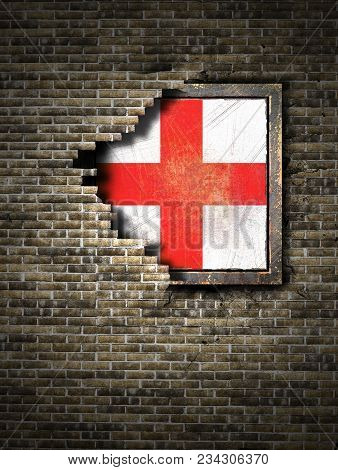 3d Rendering Of An England Flag Over A Rusty Metallic Plate Embedded On An Old Brick Wall