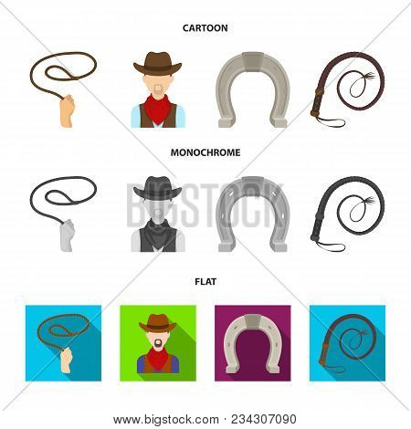 Hand Lasso, Cowboy, Horseshoe, Whip. Rodeo Set Collection Icons In Cartoon, Flat, Monochrome Style V