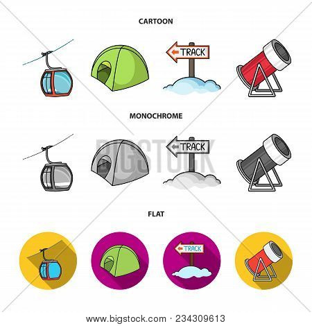 Funicular, Tent, Road Sign, Snow Cannon. Ski Resort Set Collection Icons In Cartoon, Flat, Monochrom