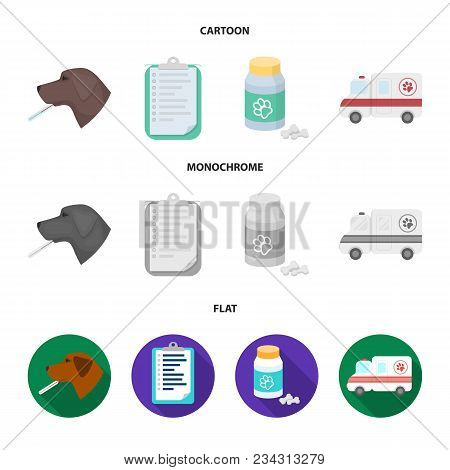 Hospital, Veterinarian, Dog, Thermometer .vet Clinic Set Collection Icons In Cartoon, Flat, Monochro