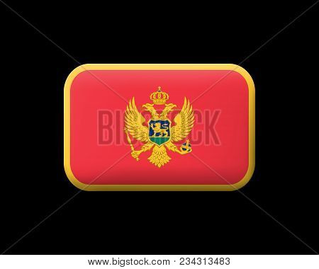 Historical Montenegrin Flag. Vector Icon on Black Leather Backdrop. Aspect Ratio 2:3 poster
