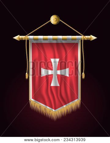 Historical Montenegrin Flag. Festive Vertical Banner. Wall Hangings