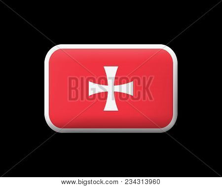 Historical Montenegrin Flag. Matted Vector Icon And Button. Rectangular Shape