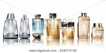 Perfume Cosmetics Set Vector Mock Up. Product Packaging Realistic Different Perfume Bottles