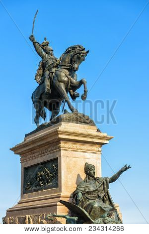 Venice - May 18, 2017: Monument To Victor Emmanuel Ii In Venice, Italy. Bronze Statue Of Italian Kin