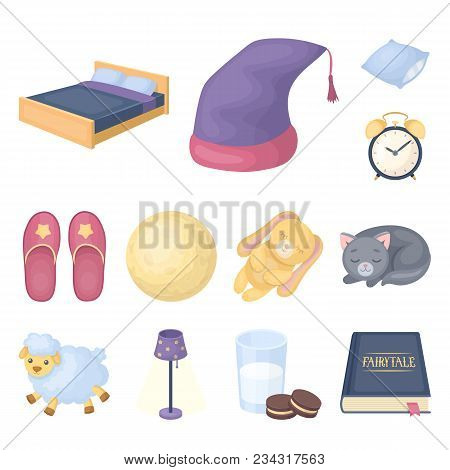 Rest And Sleep Cartoon Icons In Set Collection For Design. Accessories And Comfort Vector Symbol Sto