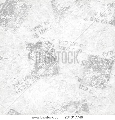 Old Grunge Newspaper Collage Paper Texture Seamless Pattern Background. Blurred Vintage Newspaper Ba