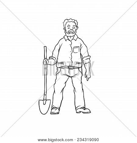 Vector Sketch Oldster Farmer Or Gardener. Man Worker With Shovel. Drawn Contour Cartoon Character Pe