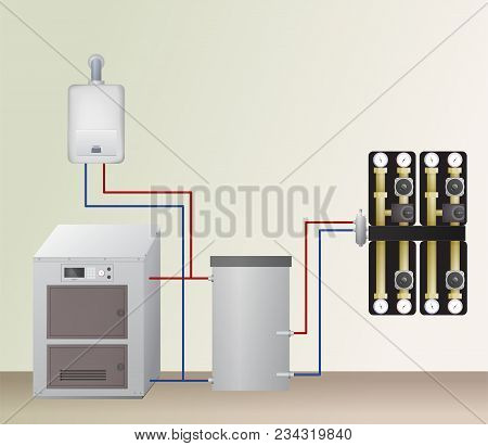 Solid And Gas Fuel Boiler With Accumulator Tank In The Heating System. Vector Illustration. Hvac Equ