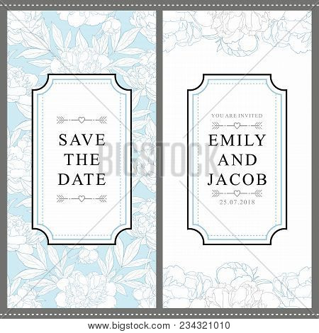 Wedding Invitation Card With Tender Hand Drawn Peonies In Soft Blue And White Colors. Gentle Invitat