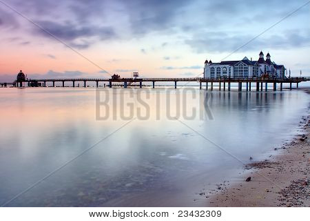 Pier with restaurant at the Baltic Sea