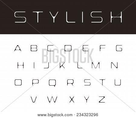 Thin Melting Font, Modern Stylish Monogram Design Elements, Simple Alphabet, Elegant Rounded Letters