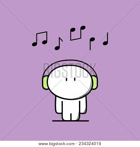 Cute Funny Man With Headphones Or Earphone And Notes Above The Head. Music, Tune Or Song, Pleasure A