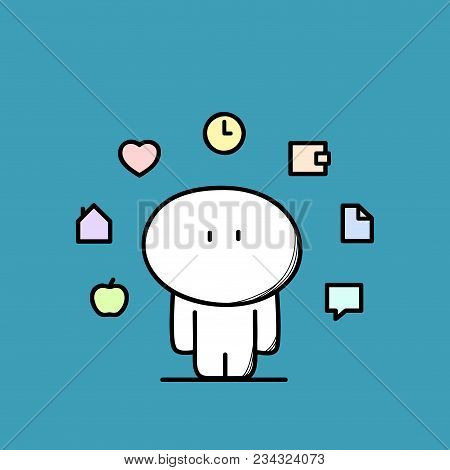 Cute Funny Man With Apple, Home, Heart, Clock, Wallet, Document And Chat Symbols. Everyday Life - Lo