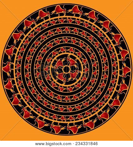 Yellow Background And Abstract Colored Image Of Circle Consisting Of Lines And Figures Of Bulls