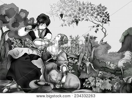 Pastoral. A Loving Couple Of Shepherd And Shepherdess On The Background Of Blooming Roses. Shepherd