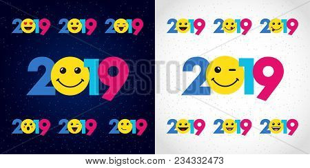 2019 A Happy New Year Xmas Greetings. Colored Snowy Winter Background, Emo Smiling Null, Isolated 20