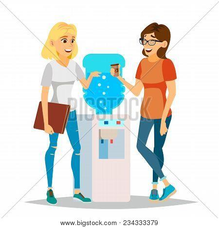 Water Cooler Gossip Vector. Modern Office Water Cooler. Laughing Friends, Office Colleagues Women Ta