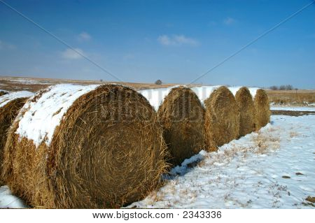 Kansas hay rolls with a light dusting of snow. poster