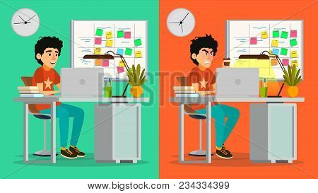 Stressed Out Man Vector. Young Coder Working At Office. Stressful Work, Job. Tired Junior Programmer