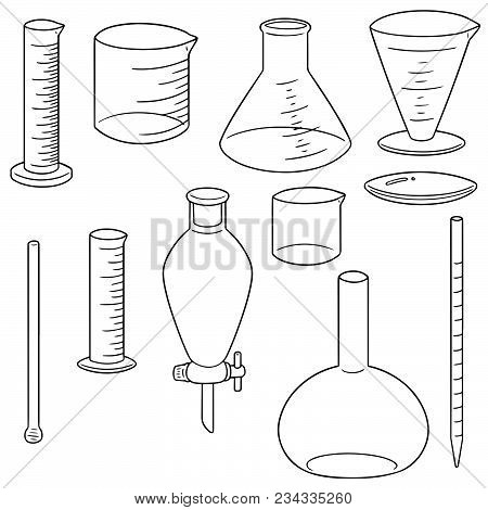 Vector Set Of Laboratory Glassware Hand Drawn Cartoon