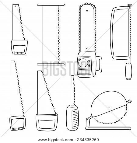 Vector Set Of Saw Hand Drawn Cartoon