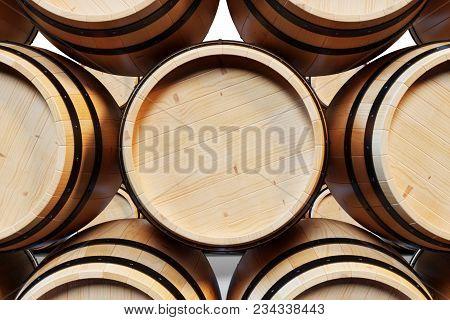 3d Illustration Background Wooden Barrels Wine. Alcoholic Drink In Wooden Barrels, Such As Wine, Cog