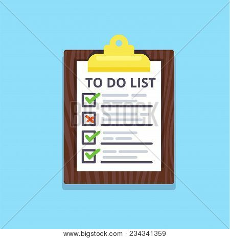 To Do List Flat Isolated Icon. Checklist Vector Illustration. Panning And Productivity Concept.
