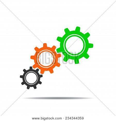 Colored Gear Icon Illustration For Design - Stock Vector