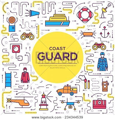 Coast Guard Day Illustration Vector Outline Icon Set. Thin Line Guarding The Order Elements