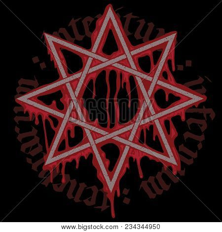 Black Magic Sign And Spilled Blood, Isolated On Black, Vector Illustration