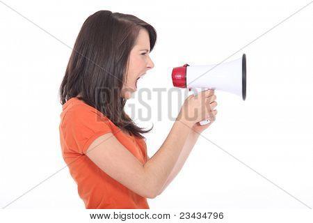 young woman shouting through a megaphone