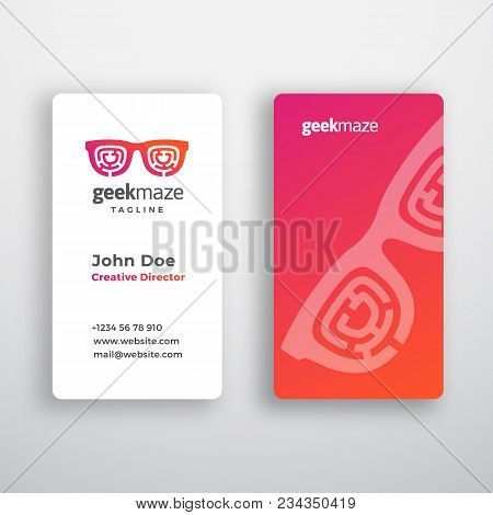Geek Maze Abstract Vector Business Card Template. Premium Stationary Realistic Mock Up. Modern Typog