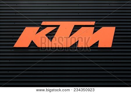 Torsted, Denmark - April  1, 2018: Ktm Logo On A Wall. Ktm Is An Austrian Motorcycle And Sports Car