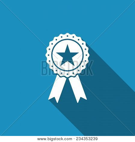 Award Medal With Star And Ribbon Icon Isolated With Long Shadow. Winner Achievement Sign. Champion M