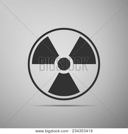 Radioactive Icon Isolated On Grey Background. Radioactive Toxic Symbol. Radiation Hazard Sign. Flat